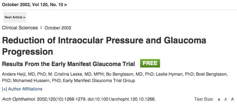Early Manifest Glaucoma Trial