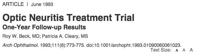 Optic Neuritis Treatment Trial